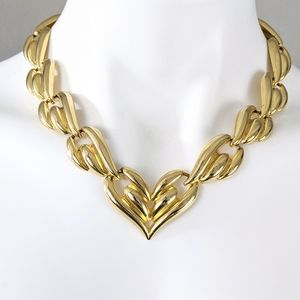 VTG Chunky Golden Hearts Chain Link Necklace 90's